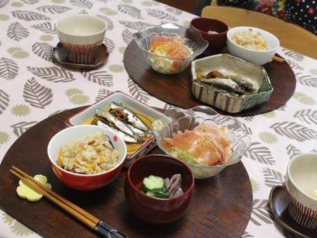大阪、天王寺、野菜、和食、料理教室、健彩青果、大畑千弦、いわし料理レシピ、五目ご飯、かやくご飯、かやくめし、生ハム、いわしの手開き