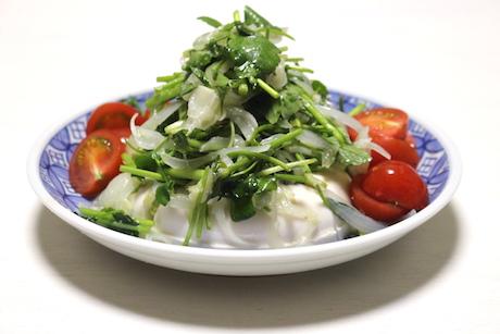 せりと豆腐のサラダ
