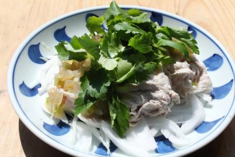 どっさりミツバと新玉ねぎタレの豚しゃぶ、大阪、天王寺、健康、野菜、和食、料理教室、健彩青果、大畑千弦、レシピ