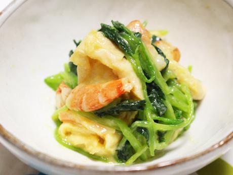 ミツバとエビの酢みそ和え、大阪、天王寺、健康、野菜、和食、料理教室、健彩青果、大畑千弦、レシピ