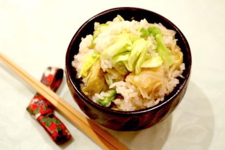 おじゃこ香る春キャベツの炊き込み御飯、大阪、天王寺、健康、野菜、和食、料理教室、健彩青果、大畑千弦、レシピ