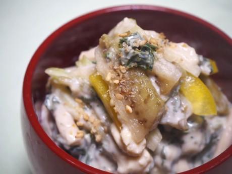蒸し茄子、蒸しなす、大阪なす、泉州、おじゃこ香る春キャベツの炊き込み御飯、大阪、天王寺、健康、野菜、和食、料理教室、健彩青果、大畑千弦、レシピ