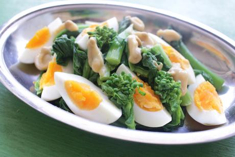 菜の花と卵のオリーブ白味噌がけ,大阪産、女子会、大阪、天王寺、健康、野菜、和食、料理教室、健彩青果、大畑ちつる、レシピ